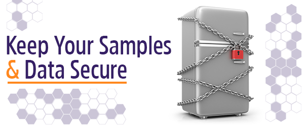 Security of samples and data using labels and software