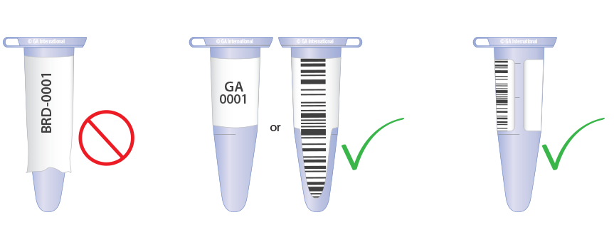 Labeling a microtube, size matters
